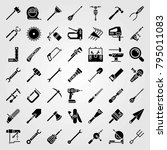 tools vector icons set. cutter  ... | Shutterstock .eps vector #795011083