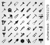 tools vector icons set. plunger ... | Shutterstock .eps vector #795011173