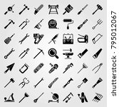 tools vector icons set. anvil ... | Shutterstock .eps vector #795012067
