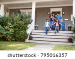 family with luggage leaving... | Shutterstock . vector #795016357