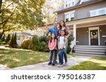 portrait of family holding keys ...   Shutterstock . vector #795016387