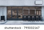front view cafe shop ... | Shutterstock . vector #795032167