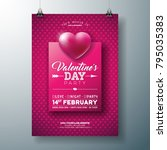 vector valentines day party... | Shutterstock .eps vector #795035383