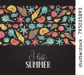 summer time horizontal banner.... | Shutterstock .eps vector #795035893