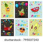 set of party invitation  banner ... | Shutterstock .eps vector #795037243