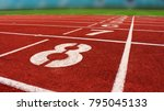 athletics stadium running track | Shutterstock . vector #795045133
