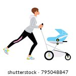fitness style young woman doing ... | Shutterstock .eps vector #795048847