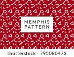memphis vector objects pattern. ... | Shutterstock .eps vector #795080473