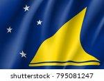 tokelau islands realistic flag. ... | Shutterstock .eps vector #795081247