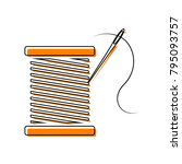 thread with needle sign...   Shutterstock .eps vector #795093757
