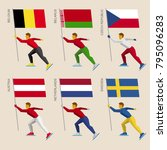 set of simple flat athletes... | Shutterstock .eps vector #795096283