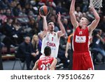 Small photo of Italy, Milan, january 11 2018: De Colo Nando penetration from right side of the field and scores 2 points line during basketball match Ax Armani Exchange Olimpia Milan vs Cska Moscow, Euroleague 2018.