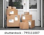 postal cart with delivered... | Shutterstock . vector #795111007