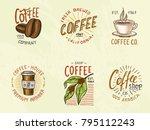 set of coffee logos. modern... | Shutterstock .eps vector #795112243
