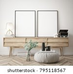 mock up poster frame in hipster ... | Shutterstock . vector #795118567