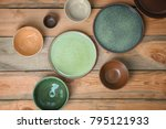 ceramic tableware on wooden... | Shutterstock . vector #795121933