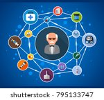 diabetes flat icon concept.... | Shutterstock .eps vector #795133747