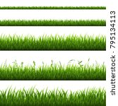 grass border isolated  vector... | Shutterstock .eps vector #795134113