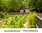 a garden with a rustic building ... | Shutterstock . vector #795139693