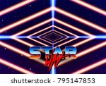 neon tunnel in space with 80s... | Shutterstock .eps vector #795147853