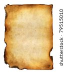 Small photo of blank grunge burnt paper with dark adust borders