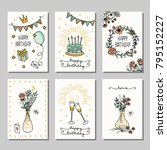 set of six hand drawn birthday... | Shutterstock .eps vector #795152227