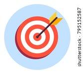 arrow in center of board. flat... | Shutterstock .eps vector #795152587