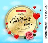 valentines day sale background... | Shutterstock . vector #795154327