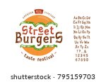 font street burger. vintage... | Shutterstock .eps vector #795159703