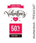 valentine's day sale banner... | Shutterstock .eps vector #795161167