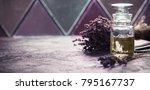 bottle of essential lavender... | Shutterstock . vector #795167737