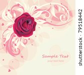 greeting card with pink rose | Shutterstock .eps vector #79518442