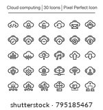 cloud computing line icon set | Shutterstock .eps vector #795185467