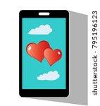 hearts valentine on mobile... | Shutterstock .eps vector #795196123