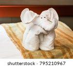 folded towel animal elephant...   Shutterstock . vector #795210967