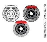 brake disc and red calliper...   Shutterstock .eps vector #795216373