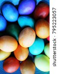 beautiful easter eggs decorated ... | Shutterstock . vector #795223057