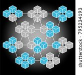 isometric block chain vector.... | Shutterstock .eps vector #795234193