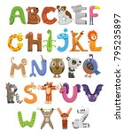 zoo alphabet. animal alphabet.... | Shutterstock .eps vector #795235897
