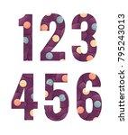 retro vinyl records alphabet... | Shutterstock .eps vector #795243013