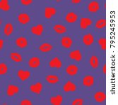 valentine's day hearts  lips... | Shutterstock .eps vector #795245953