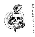 skull with snake hand drawn ink ... | Shutterstock .eps vector #795251497
