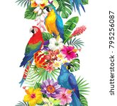 tropical seamless vertical... | Shutterstock .eps vector #795256087