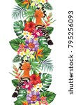 tropical seamless vertical... | Shutterstock .eps vector #795256093