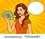 young woman with cash dollars... | Shutterstock .eps vector #795264487