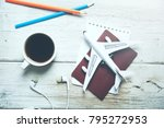 travel objects  and coffee on... | Shutterstock . vector #795272953