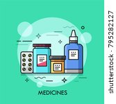 various medicines   pills in... | Shutterstock .eps vector #795282127
