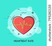 red heart and heartbeat rate... | Shutterstock .eps vector #795282133
