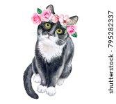 black cat in a flower wreath.... | Shutterstock . vector #795282337