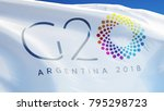Small photo of ARGENTINA BUENOS AIRES NOVEMBER 2018: G20 2018 Group of Twenty Meeting flag waving in against blue sky, close up.